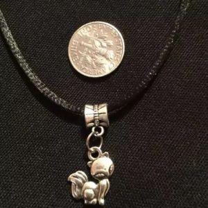 Silver tone Fox necklace